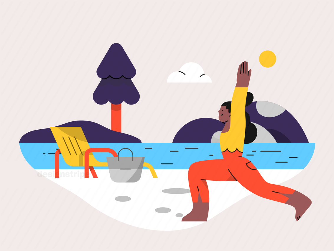 Illustration Of Woman Doing Yoga At The Beach