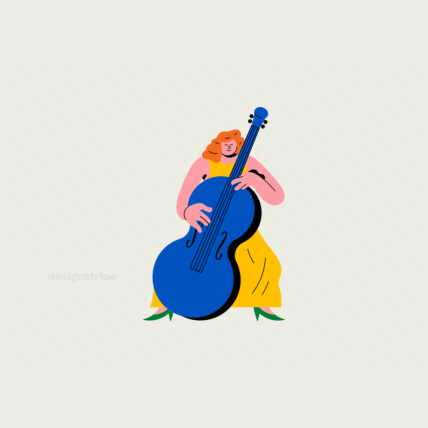 Illustration Of Woman Playing the Cello