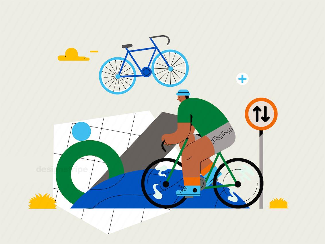 Illustration Of Person Biking Up Mountain